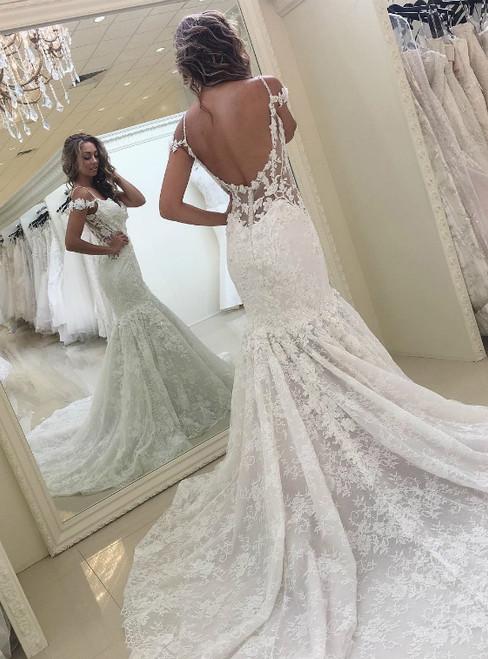 Straps White Lace Mermaid Lace Backless Long Bridal Dress