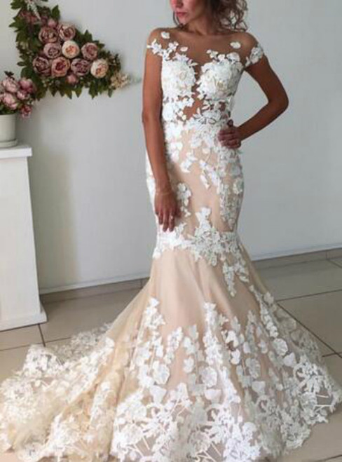 Cap Sleeve Mermaid Sheer Neck Lace Appliques Wedding Dress