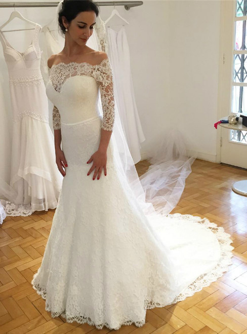 Lace Long Sleeve Mermaid White Formal Wedding Gowns