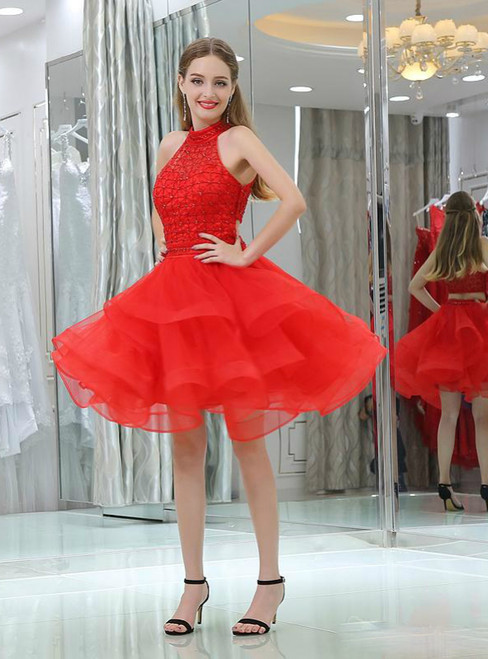 Red High Neck Tulle Knee Length Beading Homecoming Dress