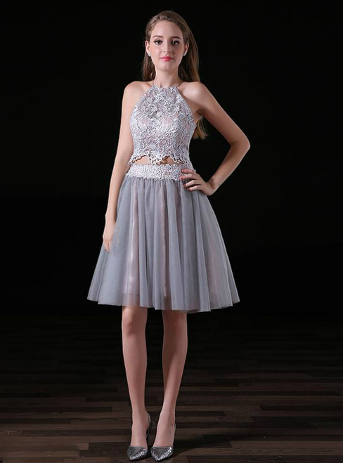 Gray 2 Piece Halter Tulle Knee Length Homecoming Dress