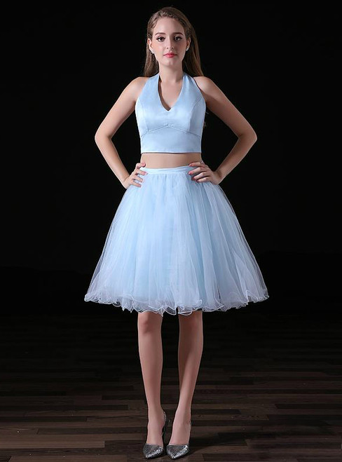 Blue Two Piece Halter Tulle Backless Cocktail Dress