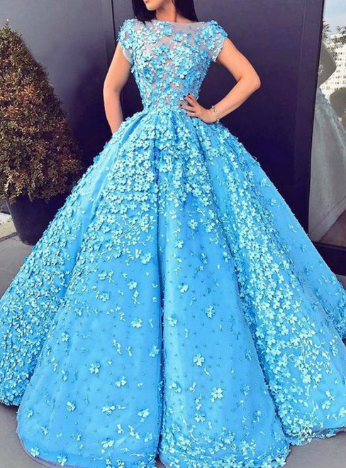 A-Line Bateau Short Sleeves Blue Satin Beaded Prom Dress with Appliques