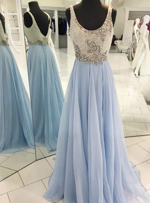 Light Sky Blue Straps Pearls Beaded Chiffon Prom Dress