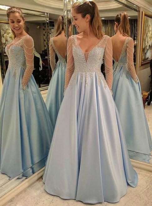 A-line Blue Satin V-neck Backless Long Sleeve Prom Dress