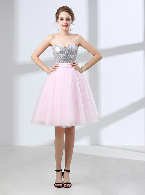 Pink Sweetheart Tulle Sequin Cocktail Dress With Bow