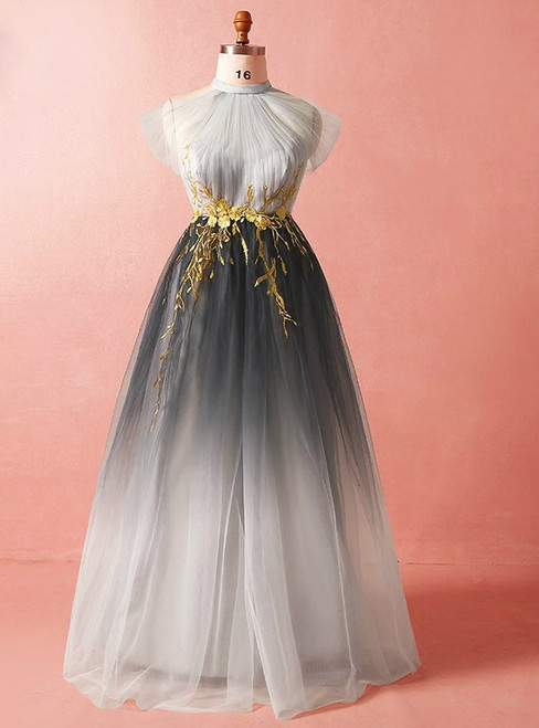 Plus Size Gray High Neck Tulle Appliques Prom Dress
