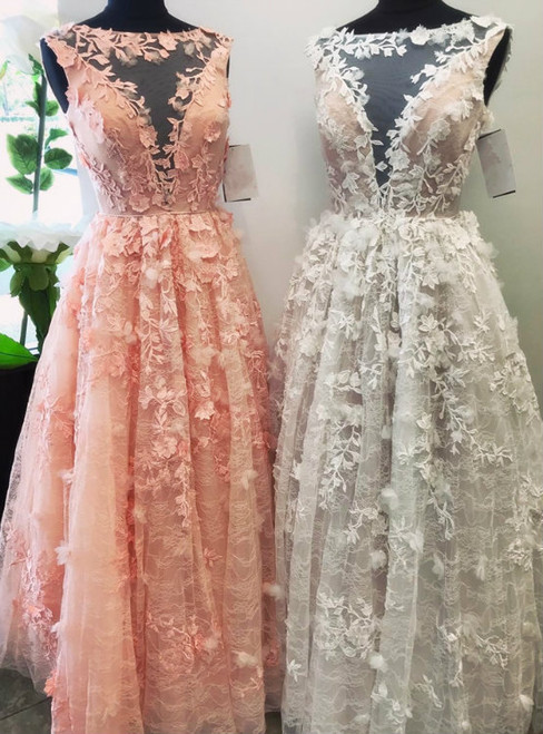 Sexy A-Line Pink Tulle Appliques Floor Length Prom Dress