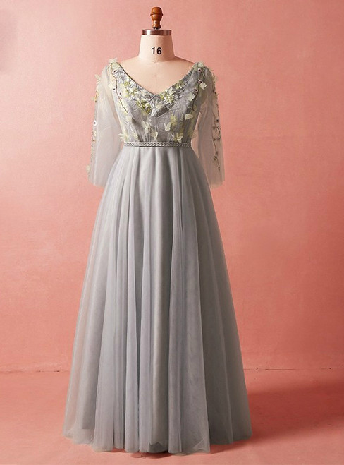 Plus Size Gray V-neck Long Sleeve Tulle Floor Length Prom Dress