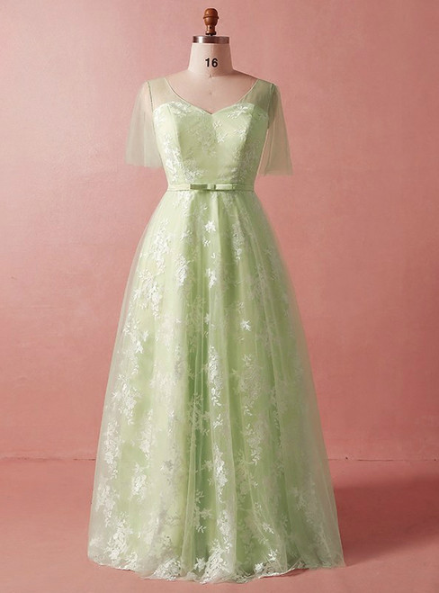 Plus Size Green Lace Tulle Short Sleeve V-neck Prom Dress