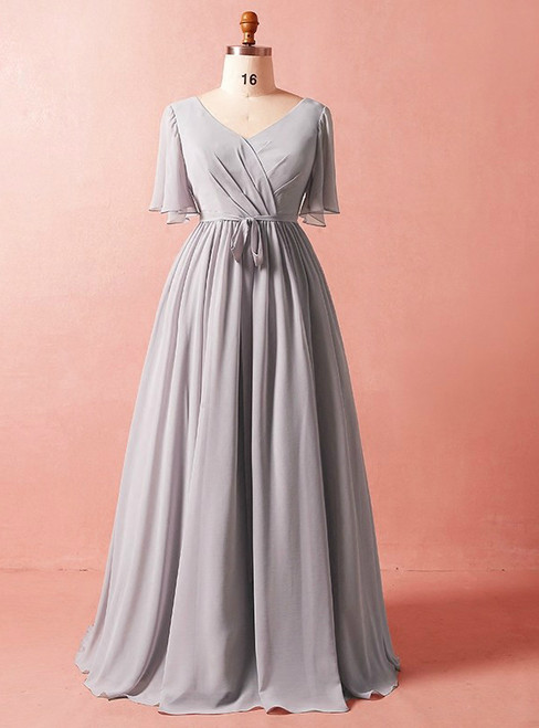 Plus Size Simple Gray Chiffon Short Sleeve Prom Dress