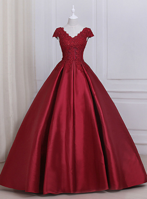 Burgundy Satin Lace Applique Scoop Neckline Long Prom Dress