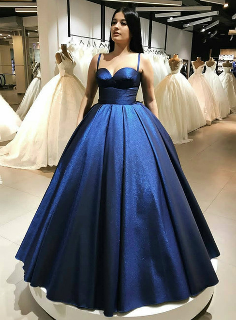 Spaghetti Straps Blue Sweetheart Neckline Ball Gown Prom Dress
