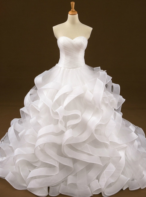 Ball Gown White Sweetheart Tulle Train Wedding Dress