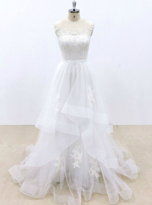 White Tulle Lace Appliques Cap Sleeve Wedding Dress
