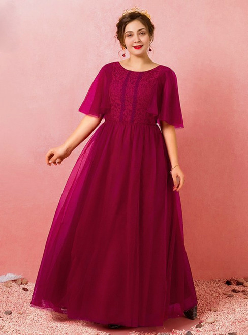 Plus Size Tulle Burgundy Floor Length Prom Dress