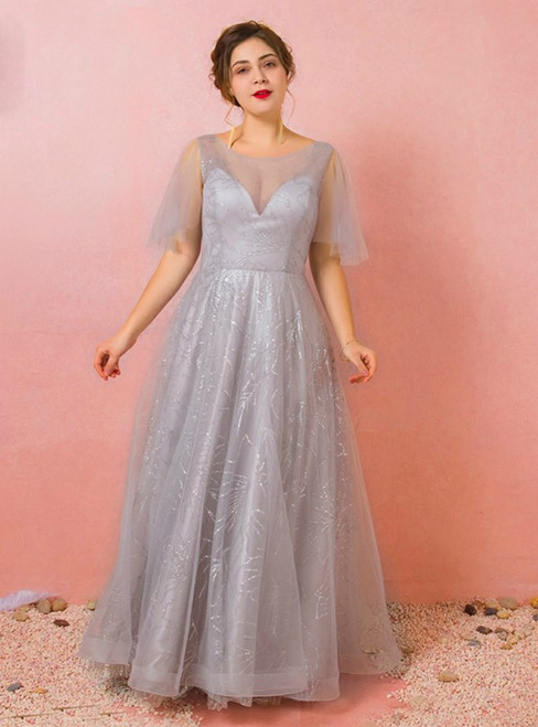 Plus Size Sexy Gray Tulle Sequins Short Sleeve Prom Dress