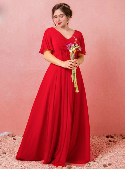 Plus Size Red Chiffon V-neck Backless Pleat Prom Dress