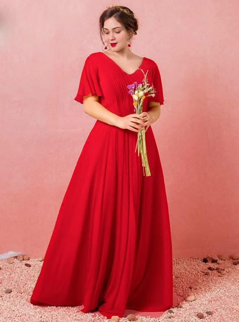 Plus Size Red Chiffon V-neck Backless Pleat Prom Dress