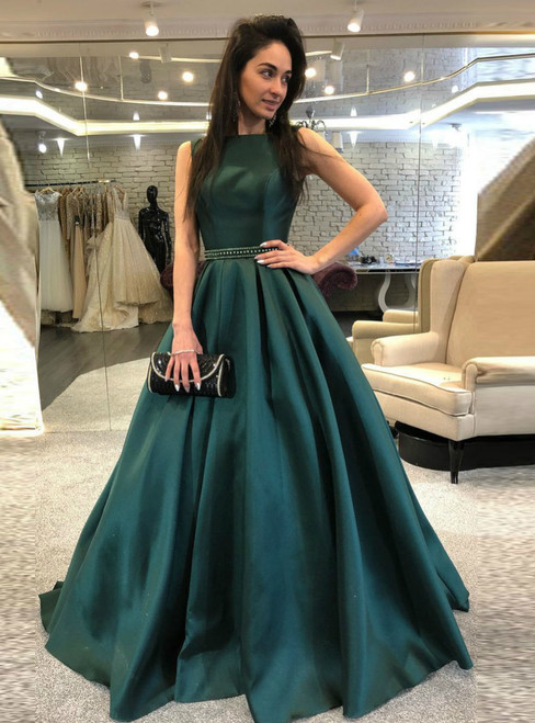 Dark Green Backless Beaded Backless Satin Prom Dress