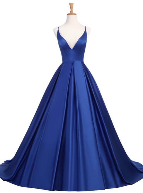 Royal Blue Long V-Neck Open Back Satin A Line Prom Party Dress