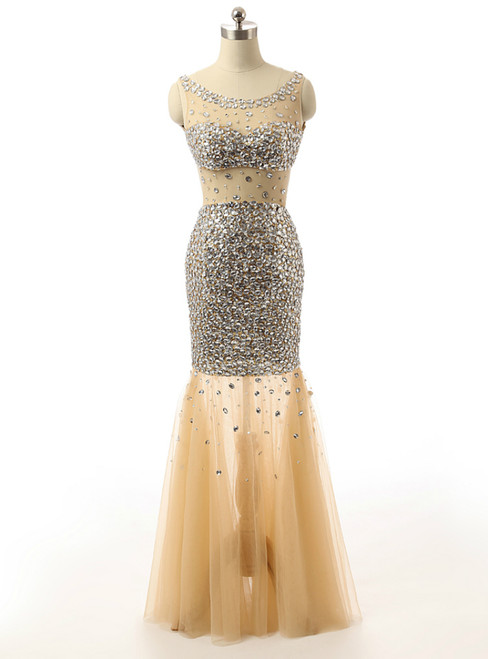 Mermaid Golden Beading Sequins Backless Tulle Formal Prom Dress
