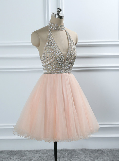 Halter Backless Crystal Beading Tulle Homecoming Dresses Sweet 16