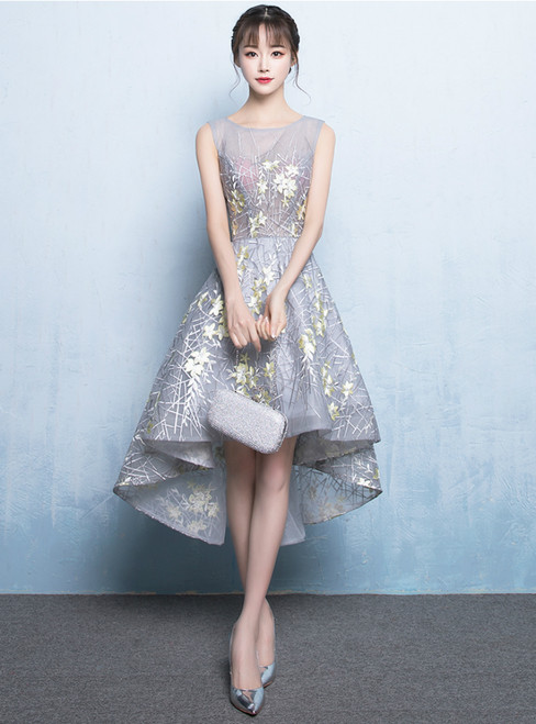 In Stock:Ship in 48 hours Ready To Ship Gray Hi Lo Prom Dress