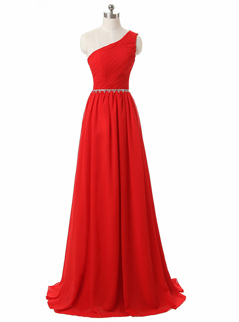One Shoulder Red Floor Length A Line Red Chiffon Bridesmaid Dresses