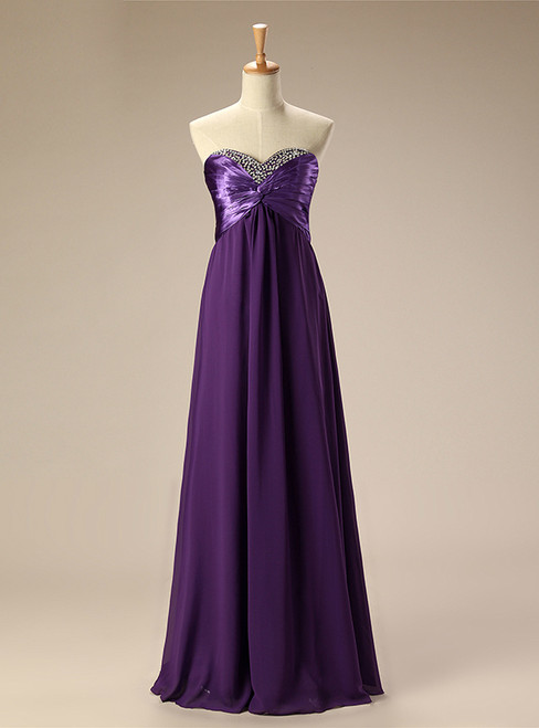 A Line Strapless Chiffon Purple Floor Length Bridesmaid Dress