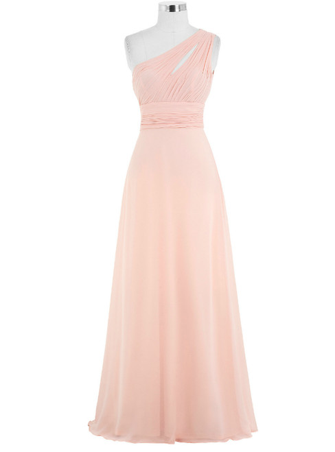Pink Chiffon Floor Length A-Line One Shoulder Bridesmaid Dress