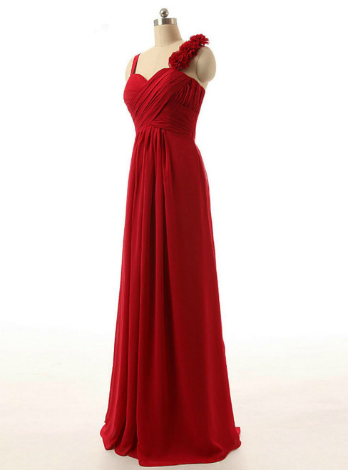Red Chiffon Floor Length Pleats Bridesmaid Dress