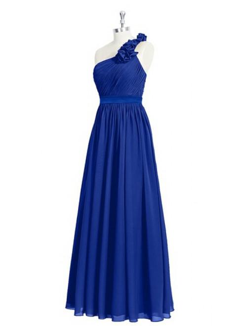 One Shoulder Royal Blue Beautiful Floor Length Bridesmaid Dresses