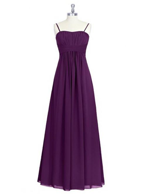 Spaghetti Straps Purple Chiffon Backless Bridesmaid Dress