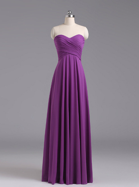 Purple Sweetheart Chiffon Floor Length Bridesmaid Dress