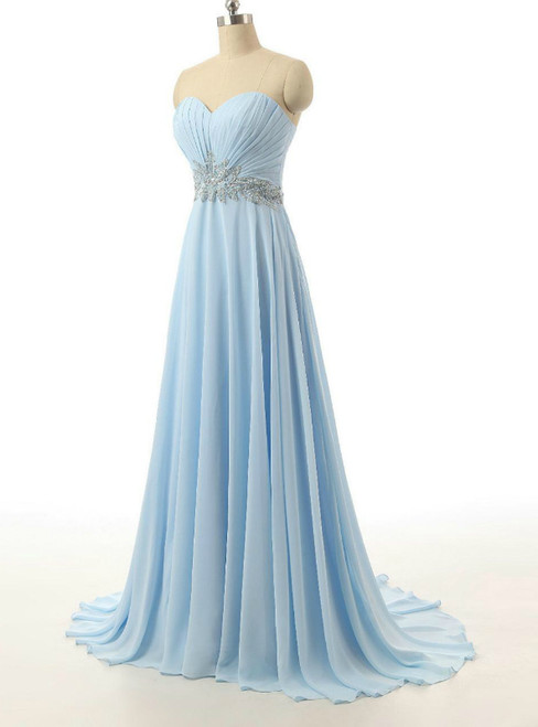 Cheap Blue Sweetheart Chiffon With Crystal Bridesmaid Dress