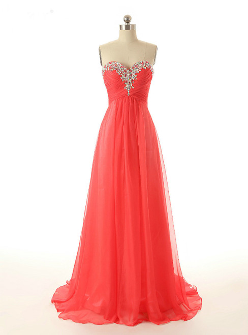 Red Chiffon Sweetheart Beading Bridesmaid Dress