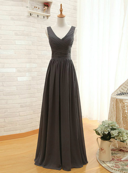 Gray V-neck Chiffon Backless Pleat Bridesmaid Dress