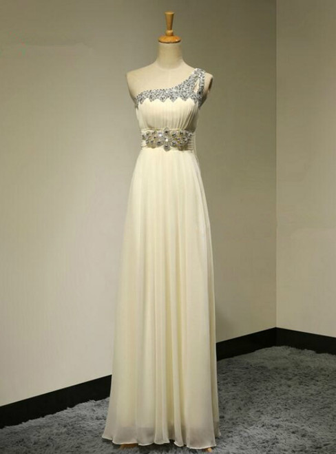 One Shoulder A-Line Crystals Beadings Long Floor Length Chiffon Bridesmaid Dress