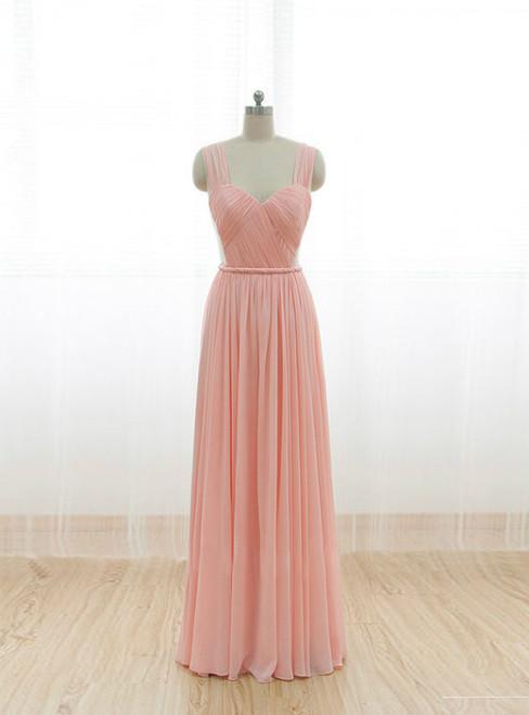 Cheap Pink Straps Chiffon Pleats Backless Bridesmaid Dress