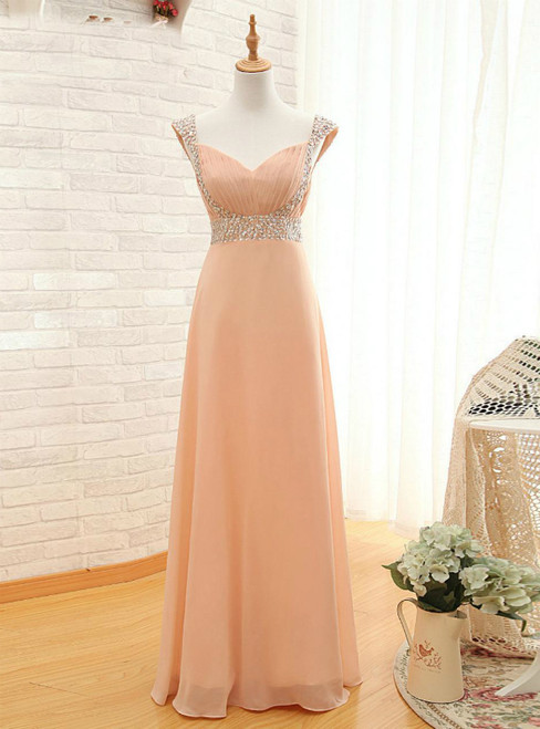 Cap Pink Chiffon Sequins V-neck Backless Bridesmaid Dress