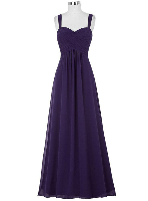 Cheap Purple Straps Chiffon Pleats Bridesmaid Dress