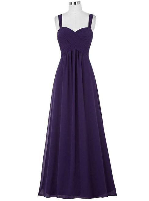 Cheap Purple Straps Chiffon Pleats Bridesmaid Dress