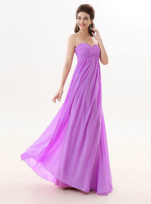 A Line Sweetheart Light Purple Chiffon Floor Length Bridesmaid Dresses