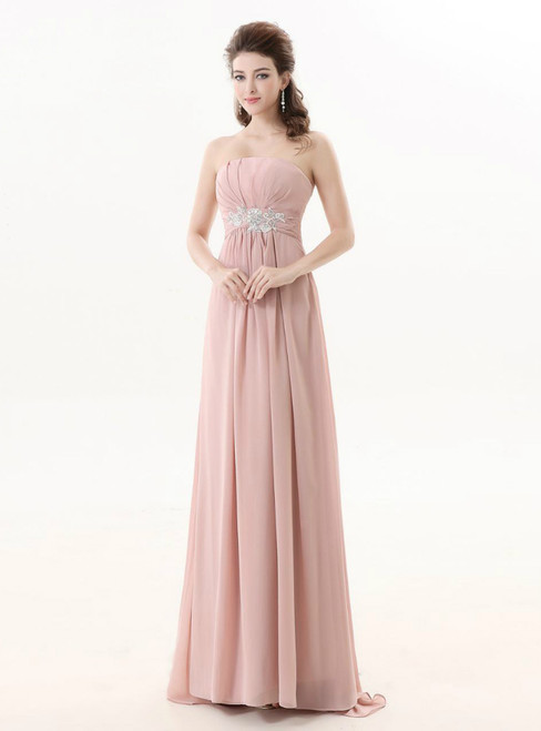 A Line Strapless Pink Chiffon Floor Length Bridesmaid Dresses