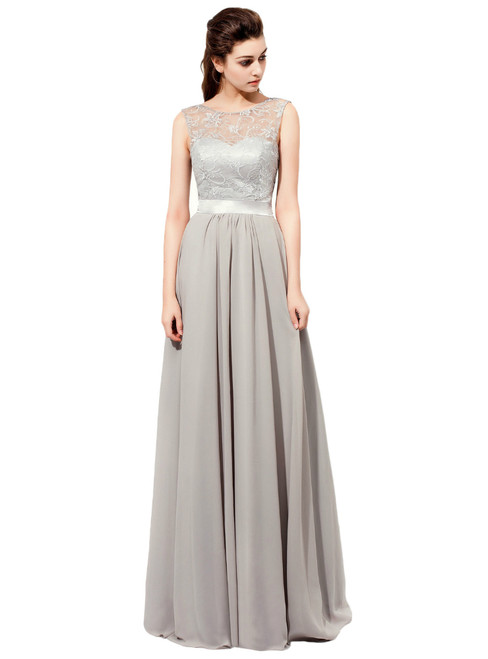 Floor Length Gray Featuring Lace Sheer Bateau Neckline Bridesmaid Dresses