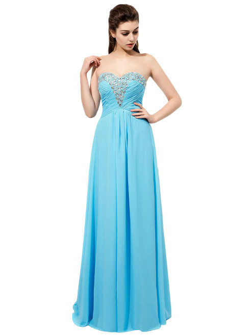 Light Blue Rhinestones Beaded Sweetheart Neckline Bridesmaid Dresses