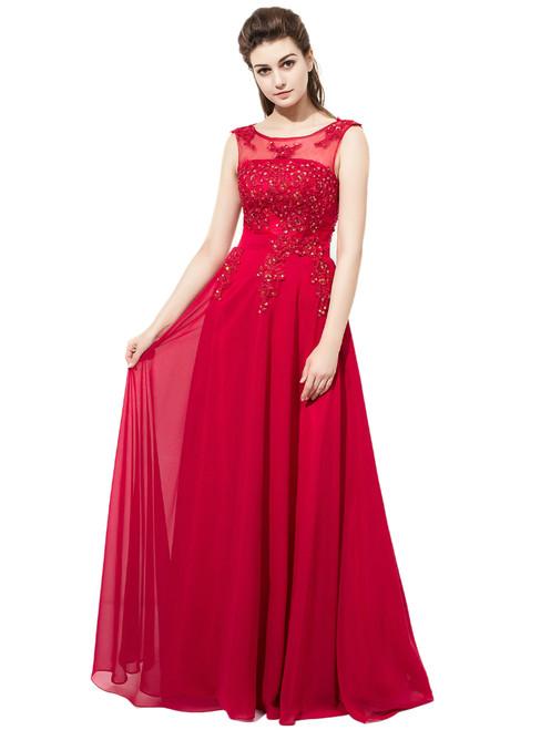 A-Line Red Chiffon Floor Length Appliques Bridesmaid Dress