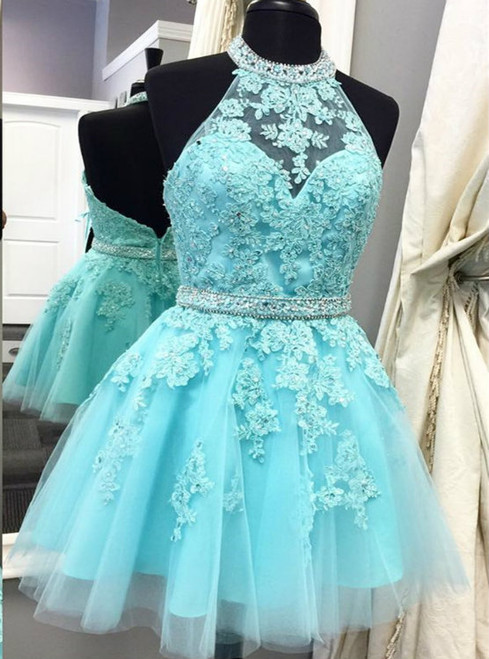 Blue Tulle Lace Halter Backless Homecoming Dress