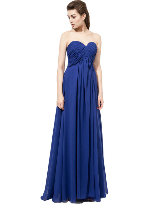 Simple Royal Blue Sweetheart Chiffon Bridesmaid Dress